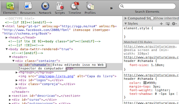 O Web Inspector aberto no Chrome Desktop.