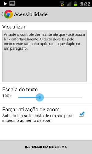 Screenshot com configurações de zoom do Chrome Mobile